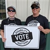 Local 306 members Meghan Tyrrell and Alison Giesbrecht employed by enVision Community Living were active in the campaign to promote DMVote.